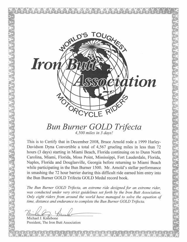Iron Butt Association Bun Burner Gold Trifecta (BBG4500)